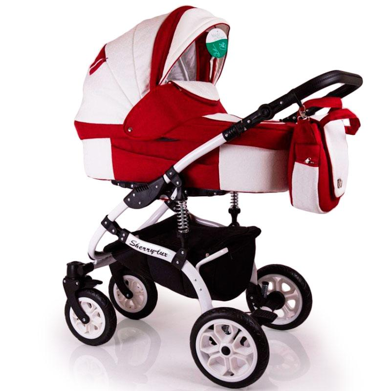 Детская коляска 2 в 1 Sherry Lux White Red