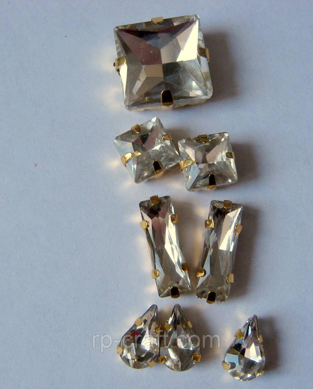 Упаковка стеклянных пришивных стразов в металлической закрепке, от 5х6х10мм, 8 штук