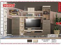 Кай - NEW гостиная (Мебель-Сервис)  ривьера трюфель+ дуб санома 2500х400х1972 мм