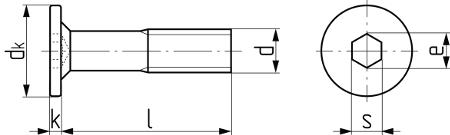 Описание: Винт мебельный с плоской головкой (Art. 3N534). Чертёж