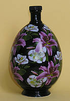 Графин керамический Яйцо чёрное с лилиями 0,75 л, сувенирный подарок