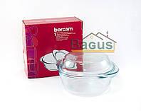 Кастрюля круглая с крышкой 0,84 л жаропрочная Borcam (59033)