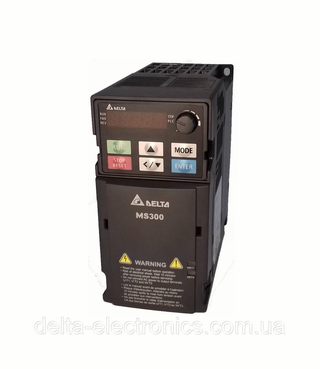 Преобразователь частоты MS300, 3x380В, 0,4 кВт, 1,5 /1,8А, ЭМС С2 фильтр, векторный, c ПЛК, VFD1A5MS43AFSAA