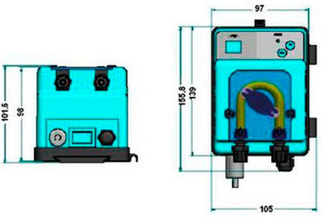 габаритный размеры насоса Microdos MP2 Pool T