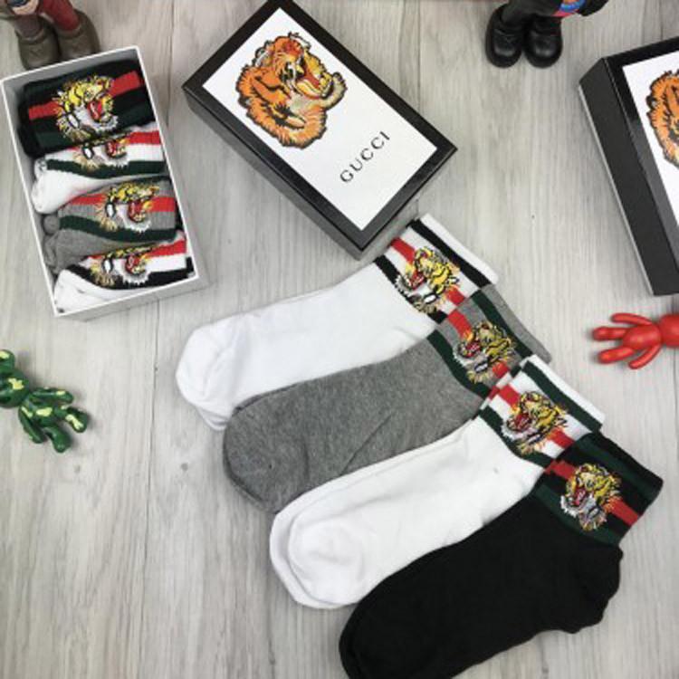 Женские брендовые носки Gucci 36-40 хлопковые комплект женских качественных носков хлопок Гуччи люкс реплика