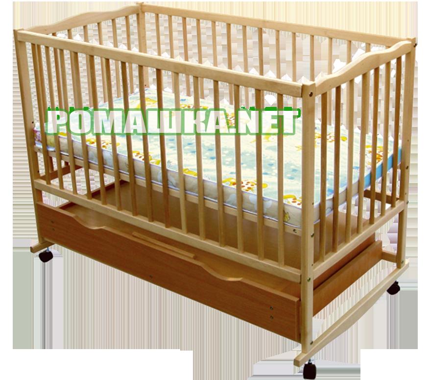"""Детская кроватка """"Дубок"""", дерево бук, колёсика, качалки, шухляда (ящик), цвет светлый"""