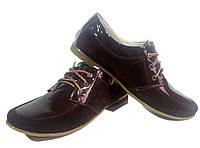 Туфли женские комфорт натуральная лаковая кожа в комбинации с натуральной замшей коричневые на шнуровке (114)