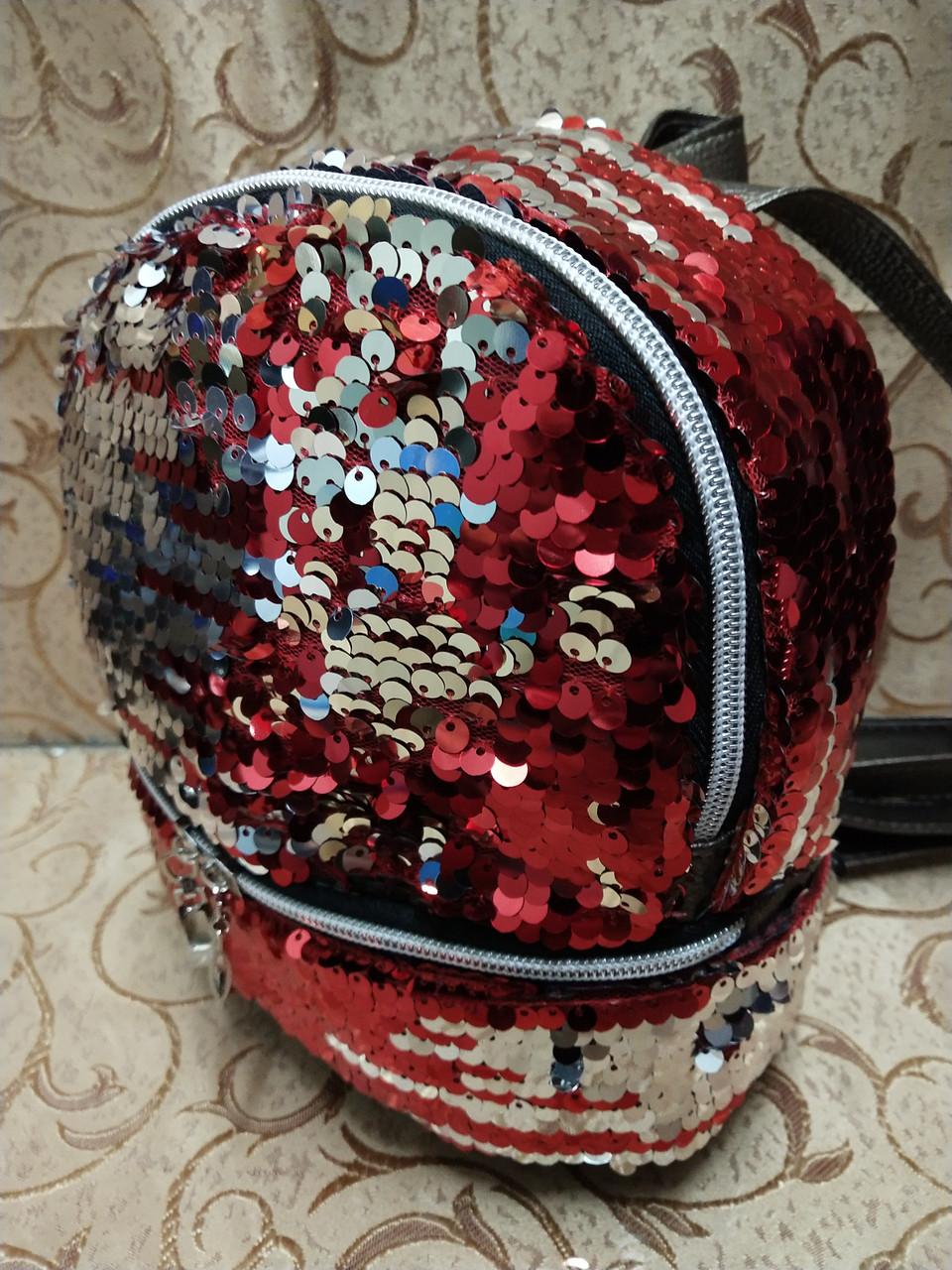 (19.5*18)Женский рюкзак искусств кожа качество с двойная пайетка городской спортивный стильный опт