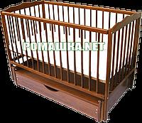 """Детская кроватка """"Дубок"""" на шарнирах (маятниковая) с ящиком (шуфлядой), из бука, цвет темный, фото 1"""