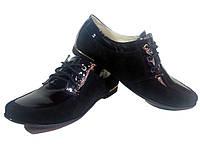 Туфли женские комфорт натуральная лаковая кожа в комбинации с натуральной замшей черные на шнуровке (114)