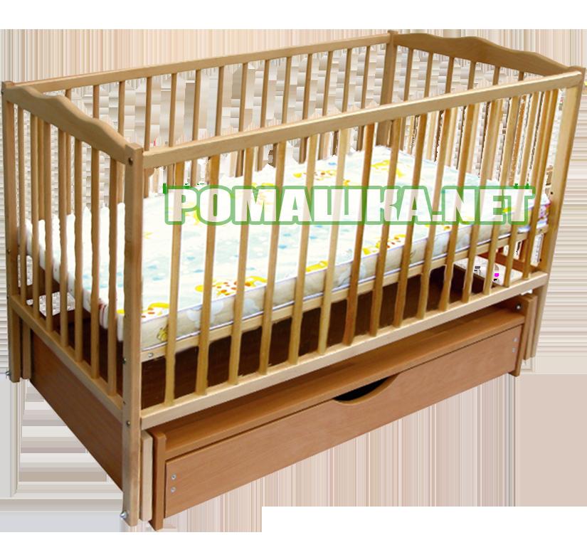 """Детская кроватка """"Дубок"""" на шарнирах (маятниковая) с ящиком (шуфлядой), из бука, цвет светлый"""