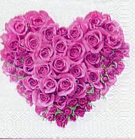 "№ 8  Салфетка для декупажа или сервировки стола ""Валентинка. Розовое сердце"""