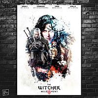 Постер Ведьмак, все герои, стилизация под акварель. Witcher, Геральт. Размер 60x42см (A2). Глянцевая бумага