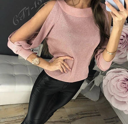 Розовый свитер с оригинальным рукавом, фото 2