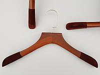 Плечики тремпеля деревянные коричневого цвета с антискользящим флокированным покрытием на плечах, длина 38 см