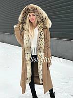 Пальто з хутром лисиці і отстежкой на жилет, розмір 46/48