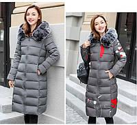 Двустороннее женское зимнее пальто пуховик парка с принтом абстракция и мех на капюшоне р.50-52