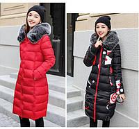 Двустороннее женское зимнее пальто пуховик парка с принтом абстракция, фото 1