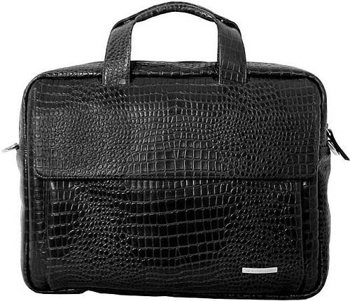 """Кожаная стильная сумка для ноутбука до 15.6"""" VIP COLLECTION 306А croc черный"""