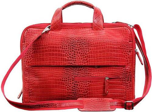 """Кожаная стильная сумка для ноутбука до 15.6"""" VIP COLLECTION 306R croc красный"""