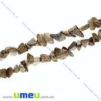 Скол (крошка) натуральный камень Яшма пейзажная, 5-8 мм, 1 нить, (87-89 см), (BUS-013795)