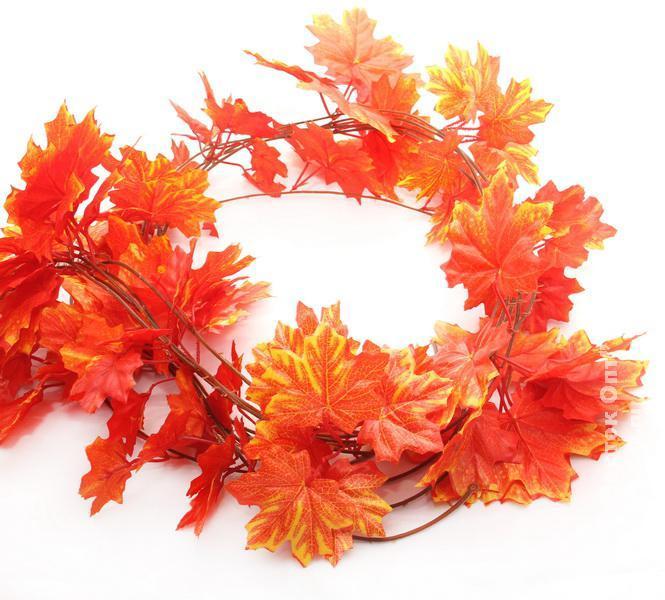 Осенняя оранжевая  лиана клён искусственная 14 метров 3M9