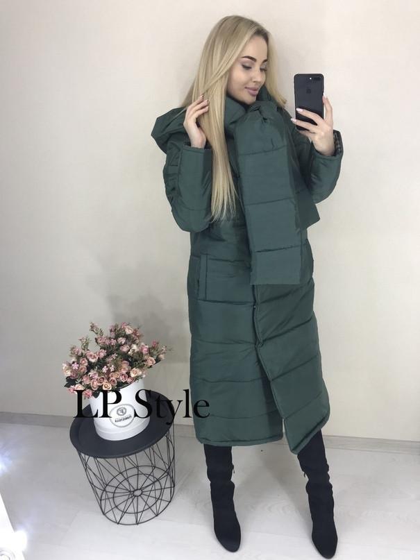 Зеленая зимняя длинная куртка женская