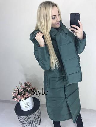 Зеленая зимняя длинная куртка женская, фото 2