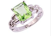 Серебряное кольцо, Кристалл, с салатовым камнем куб. цирконий, размер 18, фото 1