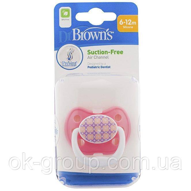 Ортодонтическая пустышка Dr. Brown's PreVent Classic Shield, уровень 2, 6-12 мес. Розовый (PV21308-GBX)