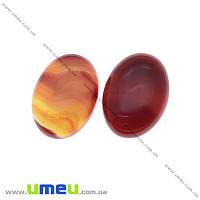 Кабошон нат. камень Агат красный, Овал, 25х18 мм, 1 шт (KAB-012696)