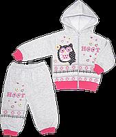 Детский спортивный костюм (теплый): кофта на молнии с капюшоном, штаны, начес, Китай, р. 74, 80, 86
