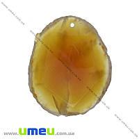 Подвеска из натурального камня Граненая, Сердолик, 53х43 мм, 1 шт (POD-026069)