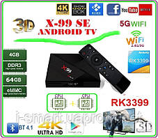 X99 Android tv box 7,1 / 8.1  RK3399 4 ГБ DDR3 64 ГБ EMMC Android tv box 2-х процессорный