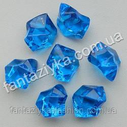 Искусственный лед 25мм синий, кристалл декоративный