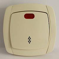 LXL BETA Выключатель проходной с подсветкой (белый/крем)
