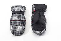 Перчатки Kombi BRIX FINGERMITT L, серая клеточка с красным кантом, размер L