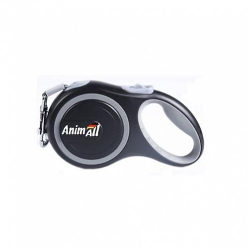Рулетка поводок AnimАll Енімал до 25 кг довжина 5 метра M стрічка Сіро-чорна