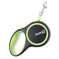 Рулетка поводок AnimАll Енімал до 25 кг довжина 5 метра M стрічка салатовий-чорна
