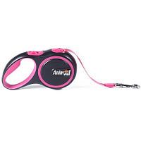 Рулетка поводок AnimАll Енімал до 25 кг довжина 5 метра M стрічка Рожево-чорна