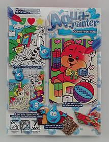 Мозаїка Aqua painter Водна розмальовка+аплікація Ведмедик AQP-01-06 Danko-Toys Україна