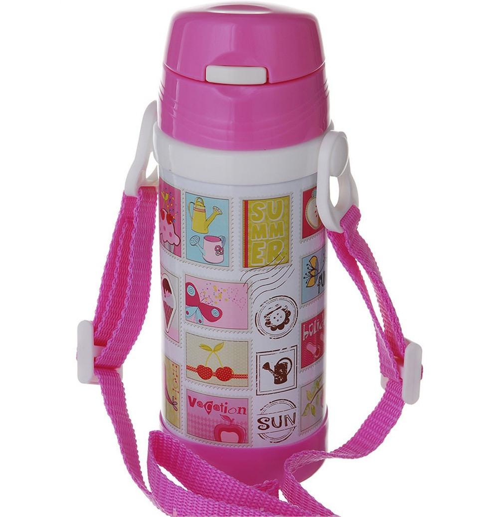 Термос детский с трубочкой школьный 320ml на ремешке с поилкой А-плюс 1776 качественный и недорогой Розовый/Марки