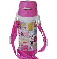 Термос детский с трубочкой школьный 320ml на ремешке с поилкой А-плюс 1776 качественный и недорогой Розовый/Марки, фото 1