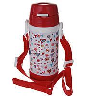 Термос детский с трубочкой на ремешке поильник дитячий  320мл на ремешке А+ 1776 Красный