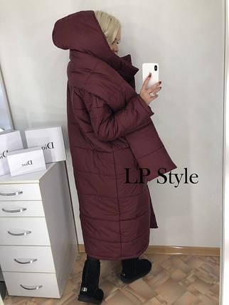 Бордовая длинная стеганая куртка, фото 2