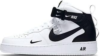 """Мужские зимние кроссовки Nike Air Force 1 Mid '07 LV8  """"White/Black"""" (в стиле Найк)"""