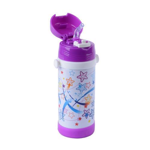 Термос детский с трубочкой школьный 320ml на ремешке с поилкой А-плюс 1776 качественный и недорогой Фиолет/звёзды
