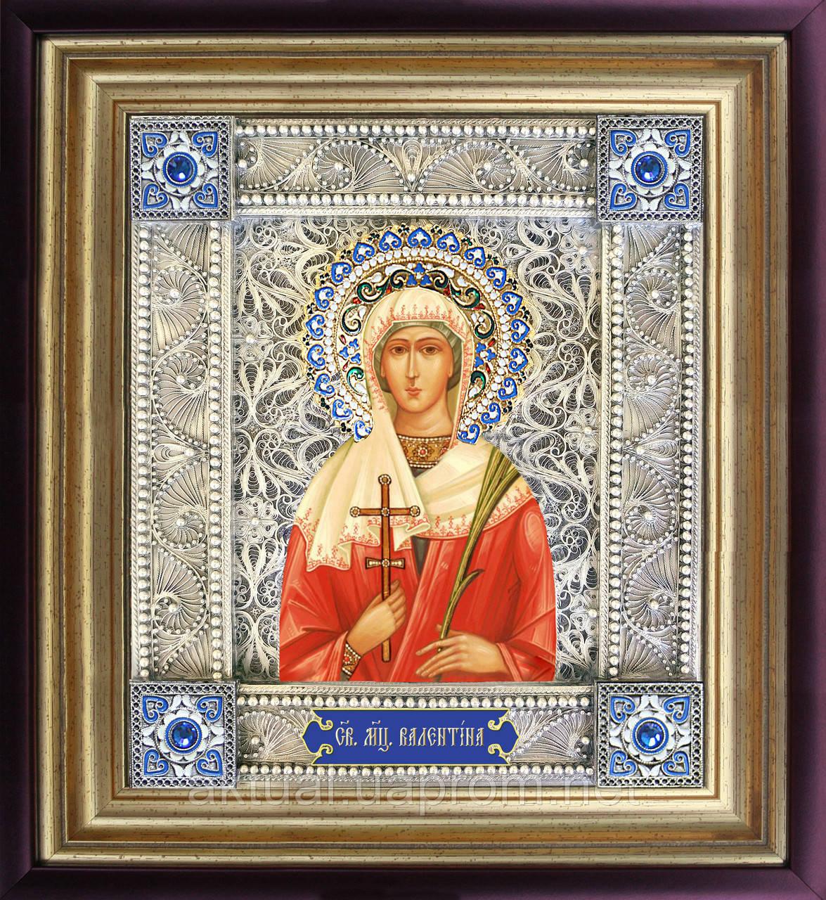 Святая Валентина именная икона скань