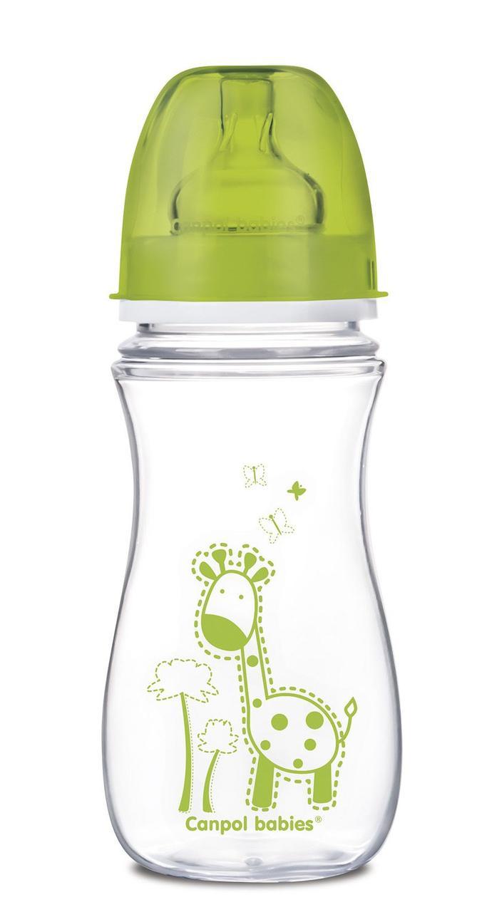 Пляшечка з широким отвором антиколікова Easystart - Кольорові звірятка 300 мл ТМ Canpol Babies