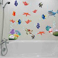 """Наклейка на стену """"В поисках Немо"""" в ванную, детскую комнату, (лист 90*30см). Виниловая, интерьерная."""